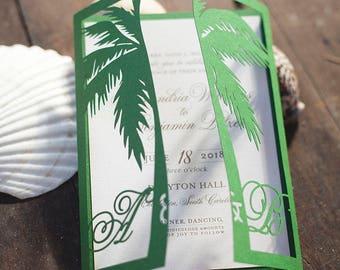 Laser Cut Palm Tree Monogrammed Wedding Invitation Gatefold Style, Green Palm Tree Wedding Invitation