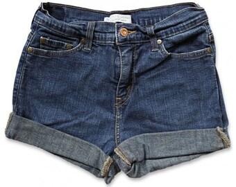 Vintage 90s Levi's Dark Blue Wash High Waisted Rise Cut Offs Cuffed Rolled Jean Denim Shorts – Size 27