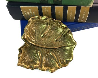 Virginia Metalcrafters PAPAIA Brass Leaf Dish - Vintage Leaf Shaped Tray Dated 1940s by Virginia Metalcrafters - Brass Home Decor