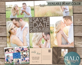 Save the Date Photo Collage, ANY COLOR, rustic save the date, save the date postcard, save our date, save the date collage magnet