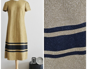 Vintage 60's KIMBERLY Mod Solid Gold Metallic Black Stripe Knit Shift Dress Hong Kong Minimalist