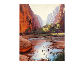 GRAND CANYON Oil PAINTING Desert Landscape Painting Traditional Art by listed Artist G.  Gercken
