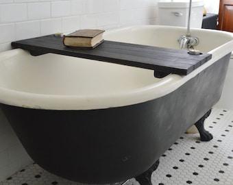 Bathtub Caddy Black Wood Bathtub Tray Bathroom Storage Bathtub Shelf Reclaimed Gift for-girlfriend Personalize Fathers Day Gift for Men Mom