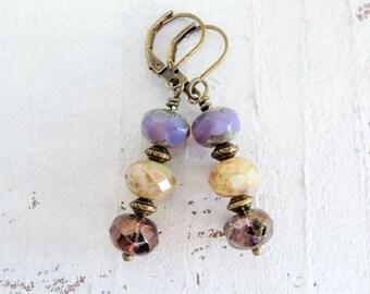 Smoky Lavender Purple Czech Glass Earrings Purple Czech Glass Dangles Smoky Lilac Metallic Bronze  Small Boho Style Earrings Gift For Her
