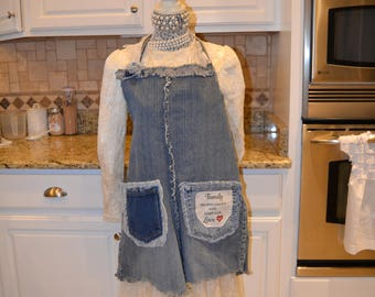 Recycled Denim and Lace Apron