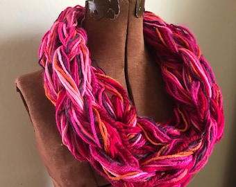 Pussyhat Cowl -  textured handknit bulky cowl, ready to ship, bulky lightweight warm oversized cowl