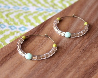 chartreuse, mint, champagne czech and miyuki glass hoop earrings - medium hoop