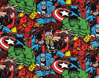 Marvel Superhero Avengers Packed Character Thor Hulk Captain America Iron Man Spider-man Cotton Fabric