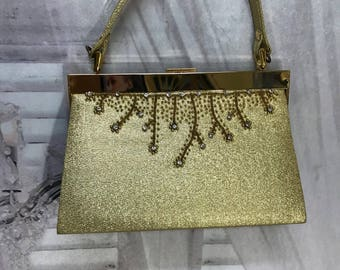 Gold Lame Rhinestone Beaded 50s Style Purse Handbag