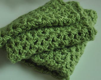 Scarf 150 cm long, crocheted by hand, natural wool