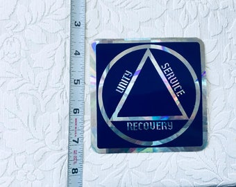 1980s AA 4 x 4 sticker Alcoholics Anonymous prism reflective SOBRIETY circle triangle dark blue