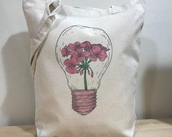 Flower in Light bulb tote bag