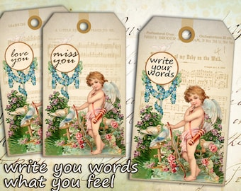 Vintage gift tags Digital collage sheet Instant printable download Best for paper craft, scrapbooking - ANGEL GIFT TAGS