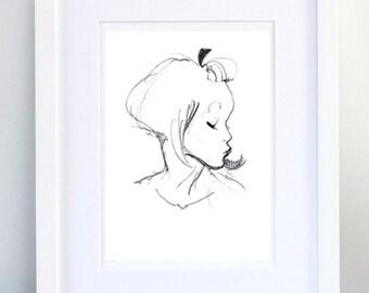 Print, Art Print, Wall Decor, Wall Art, Illustration Print, Black Pencil Kiss Drawing - print 8x11.5 inch (21x29.5 cm)