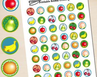 Instant Download Animal Crossing Printable Stickers, Oranges, Apples, Bananas, Pears, Cherries, Peaches