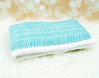 Baby Burp Cloth (Aqua Herringbone) ||| burp rag, baby burp cloths, burping rag, baby shower gift, baby gift, new baby gift