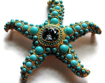 Kenneth Lane Turquoise Starfish Brooch/Pin Designer Signed Statement Jewelry Wedding Coastal Decor