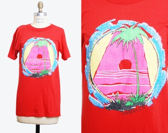 Vintage 80s JAMAICA Shirt Souviner Shirt Neon Palm Tree Graphic / 1980s Retro TShirt Vintage t Shirt Graphic Thin Tee s m