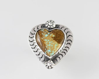 Sterling Silver Heart Ring with Number 8 Turquoise Daisies and Moon Stamps