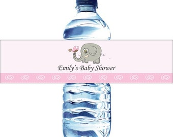 Personalized Water Bottle Labels, Baby Shower, Birthday, etc - Waterproof and self stick