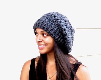 Crochet Slouchy Hat, Tam, Hippie, Women, Men, Teen, Tam, Color Charcoal,