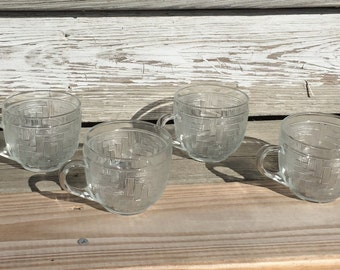 Vintage Arcoroc USA Glass Punch Cups Basketweave Set of Four