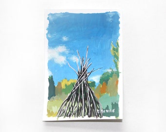 "4x6"" landscape - ""Sticks"" - small original painting"