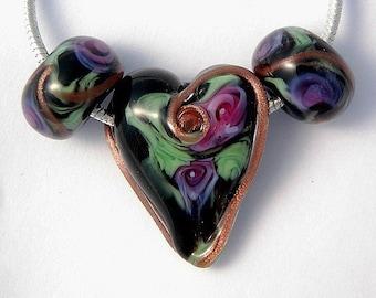 Handmade Artisan Lampwork Romantic Heart 3 beads set SRA