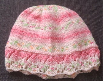 Hand Knitted Lace Trimmed Baby Hat