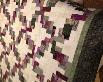 Handmade twin quilt, contemporary green and purple quilt