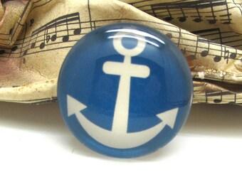 1 cabochon 25 mm glass blue anchor sailor spirit - 25 mm
