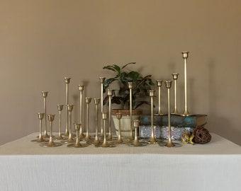 Free Shipping/20 Vintage Brass Candlesticks/Graduated Brass Candlesticks/Brass Candle Holders/Wedding Candlesticks/Mid Century Candlesticks