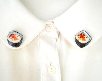 sushi brooch , sushi lover gift , sushi pins , sushi shirt accessory , funny japan gift