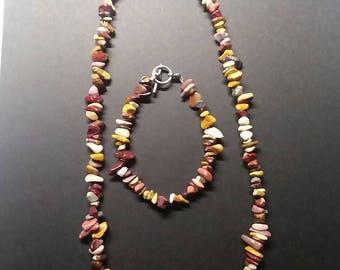 Mookaite necklace and bracelet set.
