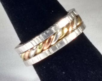 Sterling silver ring, Twisted silver, copper and brass wire ring, Textured ring