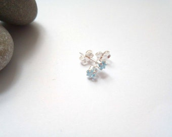 Tiny Blue Stud Earrings, Aquamarine Blue, CZ Studs, Small Studs, 3mm, Stud Earrings, Sterling Silver, Silver Studs, Crystal Stud Earrings