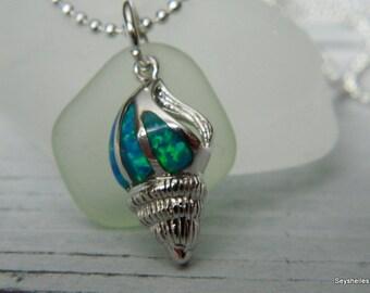 Sea Glass in Sea Foam Green with Fire Opal Sea Shell by Seyshelles