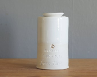 Custom urn with ceramic lid, larger sizes with gold accent. Handmade pottery pet urn, personalized urn for ashes. white / porcelain