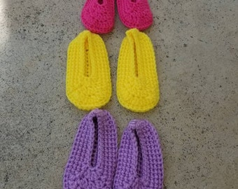 Crochet Newborn Baby Booties - Baby Shower Gift, Ready to Ship, Slippers, Socks
