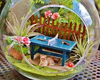 "Ping Pong Table Terrarium Kit ~ 7"" Air Plant Terrarium Kit ~ Wheelbarrow with Flower ~ Cat or Animal ~ Miniature Ping Pong ~ Gift"