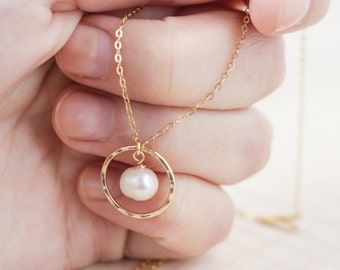 Pearl Gold Necklace (gold eternity with pearl necklace)