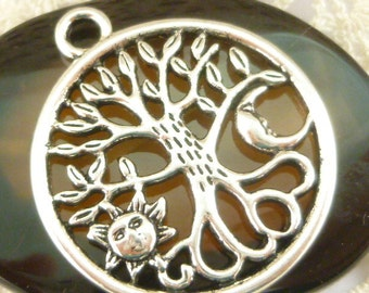 Sun, Moon, Tree of Life Roots Charm Pendant, Antique Silver (4) - S151