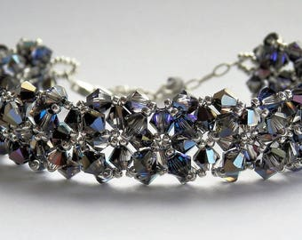 Encrusted Swarovski Crystal Bracelet with silver clasp and extender chain - Heliotrope - gift boxed