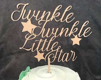Twinkle Twinkle Little Star Baby Shower Rustic Wood Cake Topper