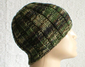 Camouflage beanie hat, green black brown hat, toque, ribbed beanie hat, mens womens knit hat, green black brown beanie hat, hiking biker hat
