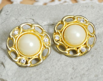 1980s Clip On Earrings - Large Circular Shape Gold Tone Chain Effect with Faux Pearl Centres & Clear Diamanté Rhinestones Vintage Gift Boxed