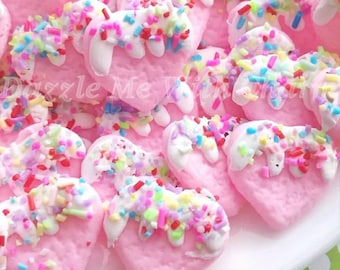 Fake heart cookie sprinkles frosting cabochon colorful polymer clay light pink flatback supply accessories decoden phone case jewelry *4pcs*