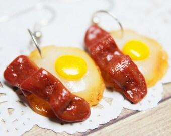 Bacon & Egg Drop Earrings - polymer clay food, miniature food, food jewellery, food earrings, handmade gift, handmade jewellery