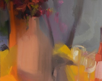 Modern Abstract Painting, Contemporary Still Life Painting, Fall Painting, Bouquet of Flowers, Oil Painting Flowers Artwork