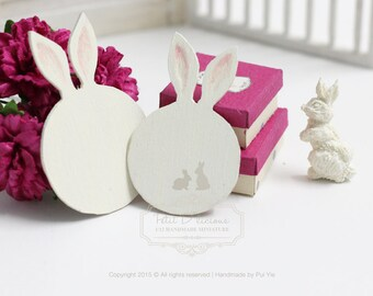 Miniature SET of Pair Cute Round Bunny Ears Wooden Cutting Boards- Miniature Dollhouse Bakery Accessories